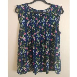 Old Navy Blue Floral Pleated Summer Tank